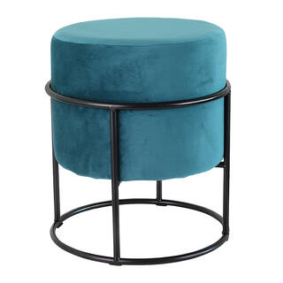 Pufa z okrągłym siedziskiem aksamitna kolor petrol