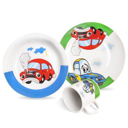 Dziecięcy porcelanowy zestaw obiadowy AUTO 3 szt.