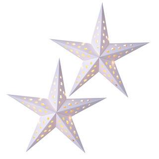 Papierowa świąteczna gwiazda z LED diodami, zestaw 2 szt.