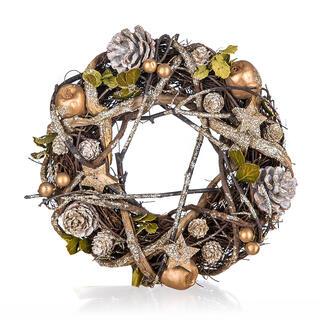 Świąteczny wieniec brązowo-złoty 25 cm