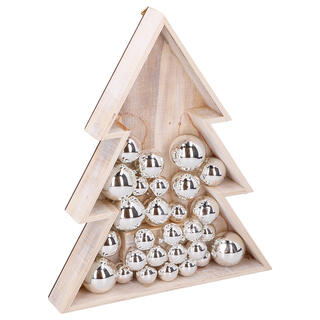 Drewniana świąteczna dekoracja CHOINKA, 15 LED