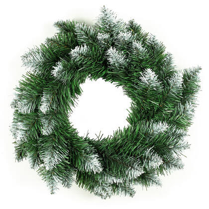 Sztuczny świąteczny wieniec, białe końcówki, śr. 50 cm