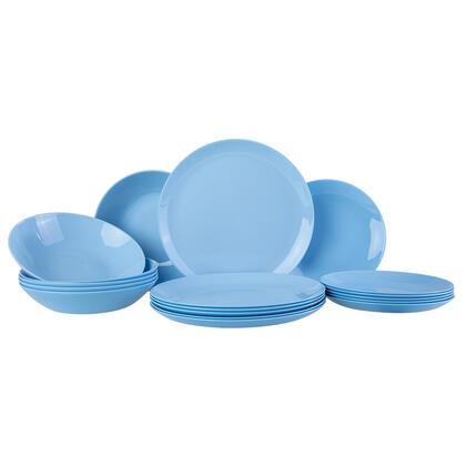 Komplet ze szkła obiadowy DIWALI jasny niebieski 18 szt.