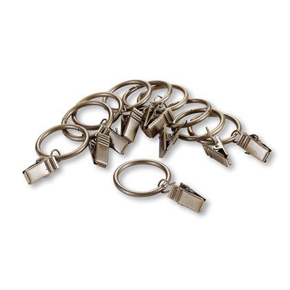 Zestaw metalowe kółka z żabkami do karniszy mosiądz 10 +10 szt.