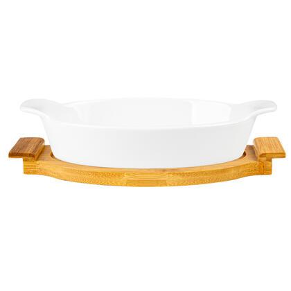 Naczynie ceramiczne MODENO na owalnej bambusowej podstawie