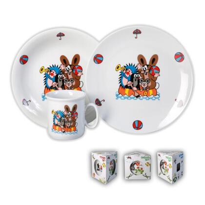 Porcelanowy zestaw obiadowy dla dzieci KRECIK 3 szt.