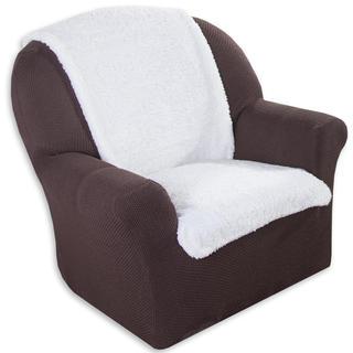 Narzuta na fotel z mikrofibry kremowa