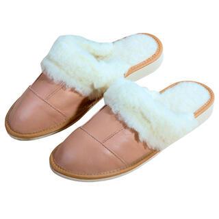 Pantofle skórzane damskie z owczą wełną