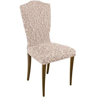 Bi-elastyczne pokrowce 3D ARABESCO beżowe krzesła z oparciem 2 szt. 45 x 45 x 50 cm