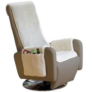 Narzuta na fotel do odpoczynku przed telewizorem z runa owczego natural