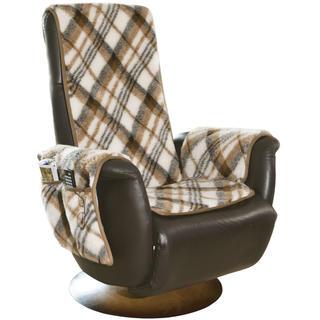 Narzuta na fotel do odpoczynku przed telewizorem z owczego runa kostka