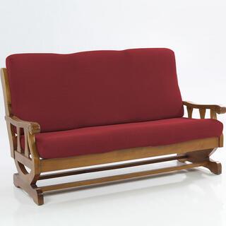 Elastyczne pokrowce CARLA bordo, kanapa dwuosobowa z drewnianymi bokami (sz. 140 - 170 cm)