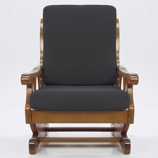 Elastyczne pokrowce Carla szare, fotel z drewnianymi bokami (sz. 60 - 80 cm)