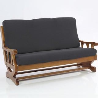 Elastyczne pokrowce Carla szare, kanapa dwuosobowa z drewnianymi bokami (sz. 140 - 170 cm)