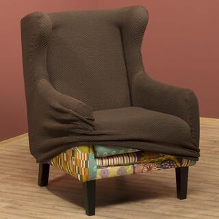 Elastyczne pokrowce CARLA brąz, fotel uszak (sz. 60 - 100 cm)