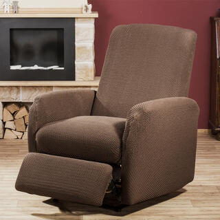 Elastyczne pokrowce CARLA brąz, fotel relaks (sz. 70 - 90 cm)