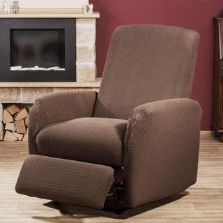 Elastyczne pokrowce Carla brąz, fotel relaks (sz. 80 - 110 cm)