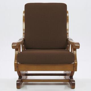 Elastyczne pokrowce CARLA brąz, fotel z drewnianymi bokami (sz. 60 - 80 cm)