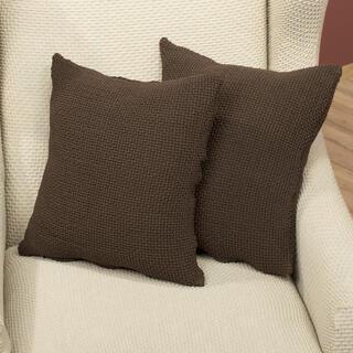 Elastyczne pokrowce CARLA brąz, poszewki na poduszkę 2 szt. (40 x 40 cm)
