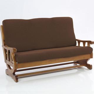 Elastyczne pokrowce Carla brąz, kanapa dwuosobowa z drewnianymi bokami (sz. 140 - 170 cm)