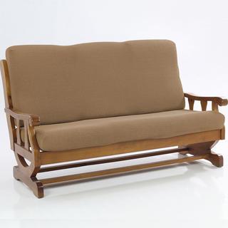 Elastyczne pokrowce CARLA orzeszkowe, kanapa trzyosobowa z drew. bokami (sz. 170 - 200 cm)