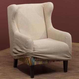 Elastyczne pokrowce CARLA śmietankowe, fotel uszak (sz. 60 - 100 cm)