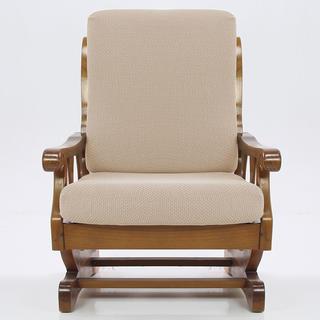 Elastyczne pokrowce CARLA śmietankowe, fotel z drewnianymi bokami (sz. 60 - 80 cm)