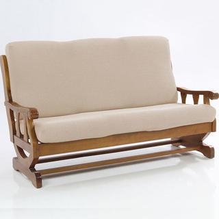 Elastyczne pokrowce CARLA śmietankowe, kanapa dwuosobowa z drewnianymi bokami (sz. 140 - 170 cm)