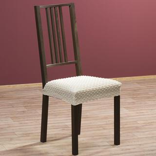 Elastyczne pokrowce Rebeca śmietankowe krzesła - siedzisko 2 szt. 40 x 40 cm