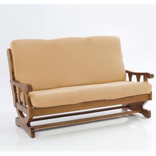 Elastyczne pokrowce CARLA złote, kanapa trzyosobowa z drew. bokami (sz. 170 - 200 cm)