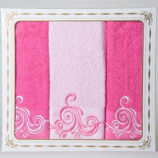 Bawełniane frotte ręczniki oraz ręcznik kąpielowy Margaret różowe