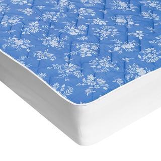 Pikowany pokrowiec na materac z aloe vera niebieski z białymi kwiatami