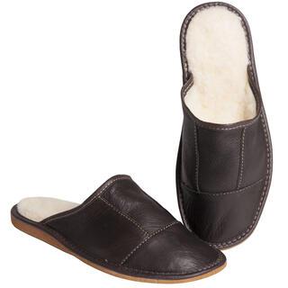 Męskie pantofle skórzane z wełną owczą brązowe