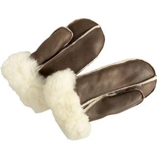 Rękawiczki z jednym palcem skórzane brązowe