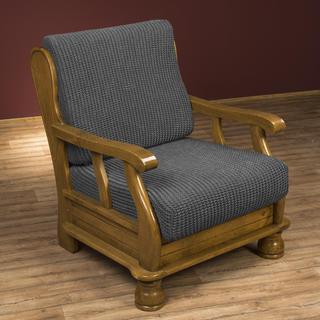 Super streczowe pokrowce GLAMOUR szare, fotel z drewnianymi bokami (sz. 60 - 80 cm)