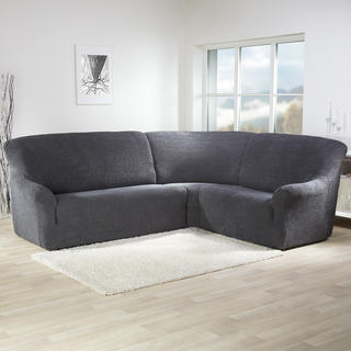 Super streczowe pokrowce GLAMOUR szare, kanapa narożnikowa (sz. 350 - 530 cm)