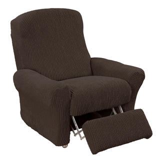 Super streczowe pokrowce GLAMOUR brąz, fotel relaks (sz. 70 - 90 cm)