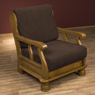 Super streczowe pokrowce GLAMOUR brąz, fotel z drewnianymi bokami (sz. 60 - 80 cm)