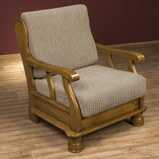 Super streczowe pokrowce GLAMOUR orzeszkowe, fotel z drewnianymi bokami (sz. 60 - 80 cm)