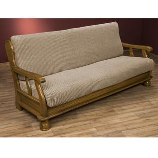 Super streczowe pokrowce GLAMOUR orzeszkowe, kanapa trzyosobowa z drew. bokami (sz. 170 - 200 cm)