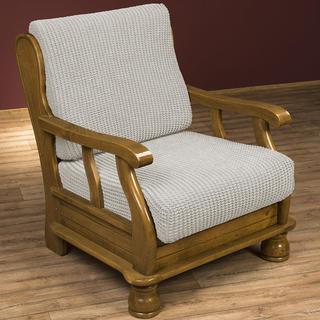 Super streczowe pokrowce GLAMOUR śmietankowe, fotel z drewnianymi bokami (sz. 60 - 80 cm)
