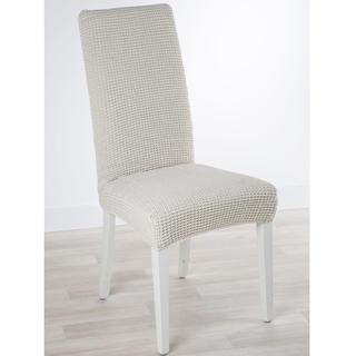 Super streczowe pokrowce GLAMOUR śmietankowe, krzesła z oparciem 2 szt. 40 x 40 x 60 cm