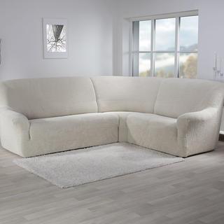 Super streczowe pokrowce GLAMOUR śmietankowe, kanapa narożnikowa (sz. 350 - 530 cm)