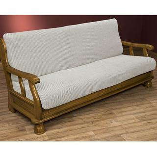 Super streczowe pokrowce GLAMOUR śmietankowe, kanapa dwuosobowa z drew. bokami (sz. 140 - 170 cm)