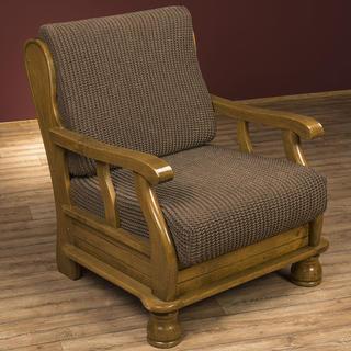 Super streczowe pokrowce GLAMOUR tytoń, fotel z drewnianymi bokami (sz. 60 - 80 cm)