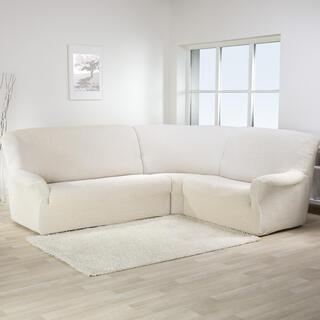 Bi-elastyczne pokrowce CAFFÉ śmietankowe kanapa narożnikowa (sz. 350 - 530 cm)
