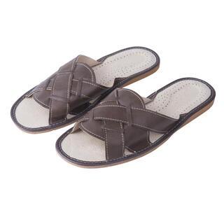 Męskie pantofle skórzane brązowe