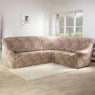 Bi-elastyczne pokrowce MAREA cieniowane beżowy, kanapa narożnikowa (sz. 350 - 530 cm)