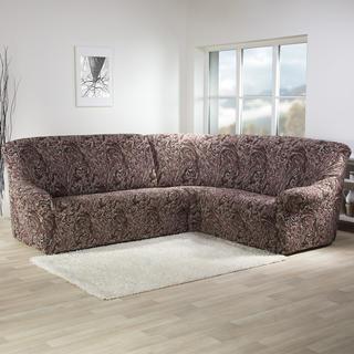 Bi-elastyczne pokrowce MAREA cieniowane brąz, kanapa narożnikowa (sz. 350 - 530 cm)