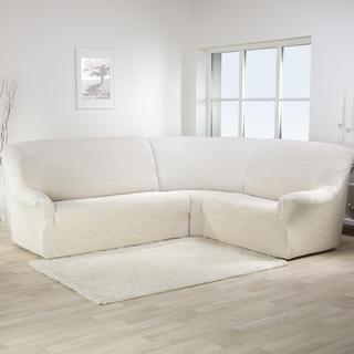 Bi-elastyczne pokrowce ADRIA beżowy, kanapa narożnikowa (sz. 350 - 530 cm)
